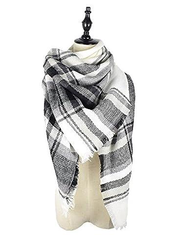 Zando Soft Warm Tartan Plaid Scarf Shawl Cape Blanket Scarves Fashion Wrap White Gray Black