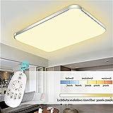 Etime® LED Deckenleuchte Dimmbar Deckenlampe Modern Wohnzimmer Lampe Schlafzimmer Küche Panel Leuchte 2700-6500K mit Fernbedienung Silber (65x43cm 48W Dimmbar)