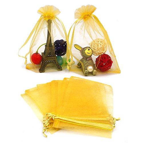 """100 PCS 10X15CM (4X6 """") Bolsas de organza con cordón, Bolsas de regalo de bolsas de joyas a favor del banquete de boda y Bolsas de dulces (Oro)"""