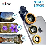 XTRA Universal Clip-On 3 in 1 Mobile Cell Phone Camera Lens Kit, 180 Degree Fisheye Lens + 0.67X Wide Angle + 10X Macro Lens, With Lens Clip Holder, Golden