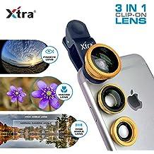 Xtra 3en 1Clip-On 180° Lente Ojo de Pez + 0,67x gran angular + 10x Macro lente de la cámara kit para iPhone 7/7+/se/6S/6/6Plus, iPad, Samsung Galaxy S7/S6/Edge, Nota 5/4, LG G3, Moto X/G, Nexus y teléfonos Android
