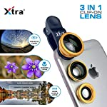 XTRA Universal Clip-On 3 in 1 Mobile Cell Phone Camera Lens Kit, 180 Degree Fisheye Lens + 0.67X Wide Angle + 10X Macro Lens, With Lens Clip Holder, Black. Great Lenses for Awesome Mobile Photography. Unleash your creativity and take amazing mobile p...