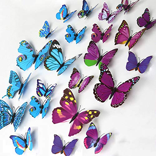 Aofocy 3D Schmetterling 12PCS Aufkleber, der Aufkleber Wand Aufkleber Handwerk Schmetterlinge (lila)