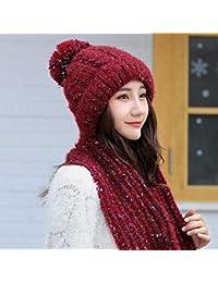 HAOLIEQUAN Esquí Niña Color Mezcla Sombreros De Punto Bufanda Conjunto De  Sombrero Sombrero De Invierno para Mujer Gorro… 24b258c3ab1