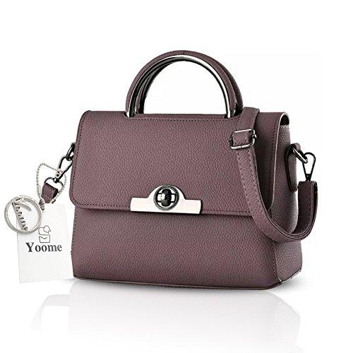 Yoome Upscale Lichee Pattern Top Griff Handtaschen Vintage Satchel Taschen Für Frauen Flap Bag - Rot D.Purple