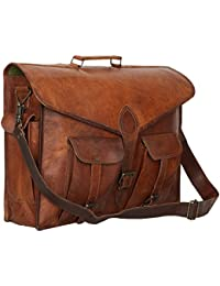 "Handcraft's ""Devin"" Genuine Leather Unisex Vintage Brown Laptop Bag Messenger Bag Gift For His Him 18 Inch"