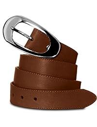 CASPAR GU236 eleganter Damengürtel aus weichem Nappa Leder 3 cm breit MADE IN ITALY