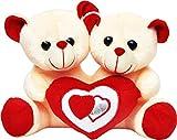 #6: Cute Teddy Couple Holding Heart - 22 cm