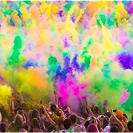 Holi, polvere colorata per festival, celebrazioni e feste, colore giallo, sacchetto da 500g