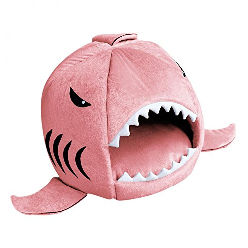 Imported Cat Pet Shark Bed Puppy Dog Cozy Warm Cushion Mat Nesting Rest House Pink M