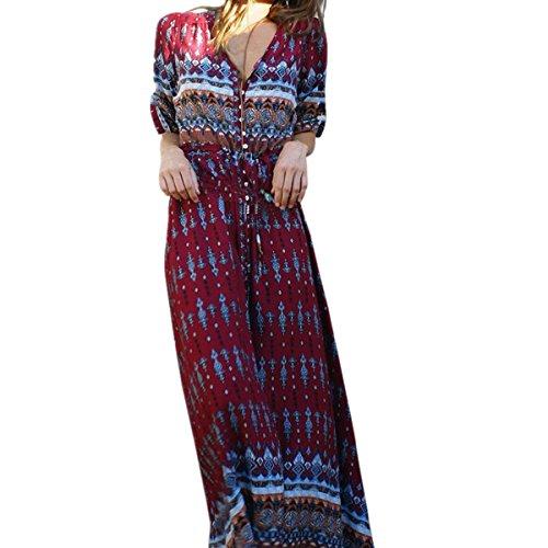Bluestercool Femmes Robe longue imprimée florale Dress de Bohême Plage d'été (XL, Vin rouge)