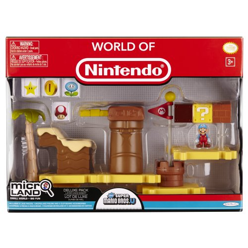 Mario Bros - World of Nintendo Micro Land Playset Deluxe: Layer Cake Desert with Ice Mario figura (Jakks Pacific JAKKNIN020LCDIM)