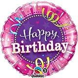 Qualatex Shining Star Pink Happy Birthday Mini Foil Balloon on Stick