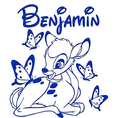 Fengdp Nach maß Personalisierte DIY Bambi Und Schmetterling Vinyl Wandtattoos Personalisierte Name Kunst Pegatina Adesivo De Parede Kinderzimmer 60 * 50 cm