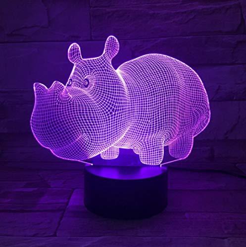 Joplc Niedliches Nilpferd USB 3D Lampen-Schlafzimmer beleuchtet Atmosphären-Dekorations-Licht-Familien-Vater Kids Gifts (Halloween Einfache Dekoration Niedlich, Ideen)