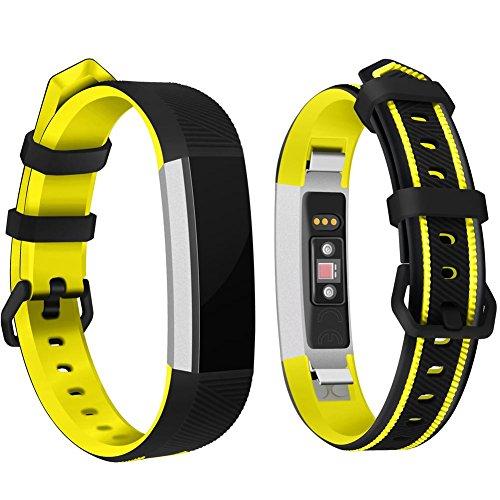 Autoecho Einstellbare Bänder für Handgelenk Band Strap für Fitbit Alta/Alta HR/Ace Smart Kinder Kinder Armband mit Doppel Farbe weiches Silikon Ersatz Uhrenarmbänder für Frauen Männer