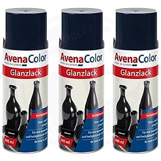 3 x Avena Color Glanzlack schwarz 400 ml