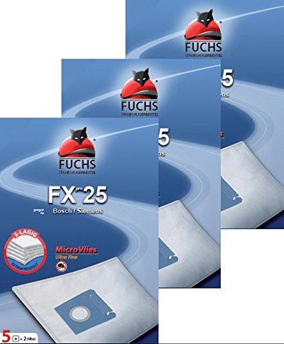 3pacchetti FXpro 25: 15sacchetti per aspirapolvere, 3filtri dell' aria, 3filtri motore per Bosch Siemens tipo GXXL GXL Tessuto non Tessuto BSG7VSZ06VS07G Silence Power, Super Silent, Green Power Edition, Synchropower VS Q4GP.... Serie Q 4.0
