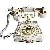 Europäisch Style Kreativ Vintage Telefon,Wählscheibe Antiquität Retro Ornament Dekoration Königlich Luxus Wohnzimmer Zuhause Büro Schnurgebundenes Festnetzanschluss Telefon-A