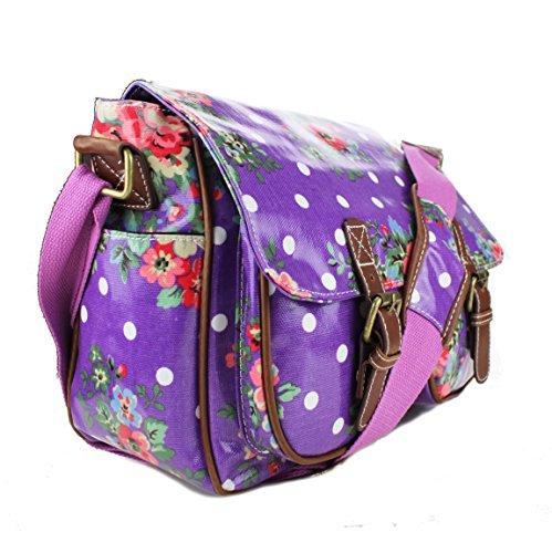Miss Lulu Schultasche/Umhängetasche aus Wachstuch oder Canvas, Blumen-, Pünktchenmusterdesign, Schultergurt Purple Oilcloth