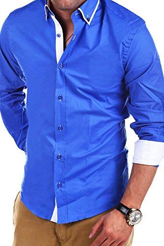 MT Styles Hemd Slim Fit Kontrast BH-320 Blau