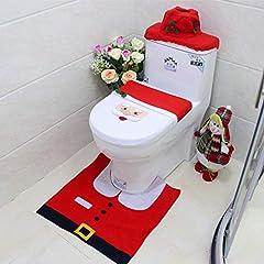 Idea Regalo - Gudotra 3pz Kit per Decorazioni Bagno Natale Babbo Natale Tappetino Antiscivolo Bagno+ Scatola del Tessuto di Copertura+ Copertura Coperchio WC