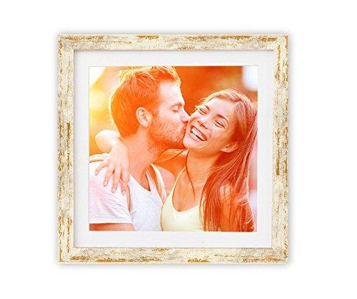 Holz - Rahmen für Bilder quadratisch 15x15 20x20 25x25 30x30 40x40 50x50 mit weißem Passepartout Rahmen zum Aufhängen Farbe Golden-Elfenbein - Format 30x30