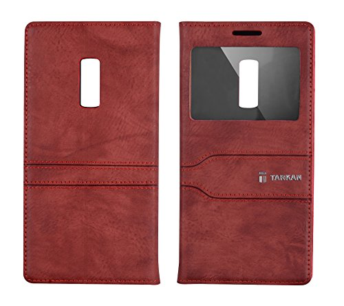 TARKAN Window Slim Leather Magnetic Flip Case Cover with Convertible Stand for OnePlus 2 (Cherry Red)
