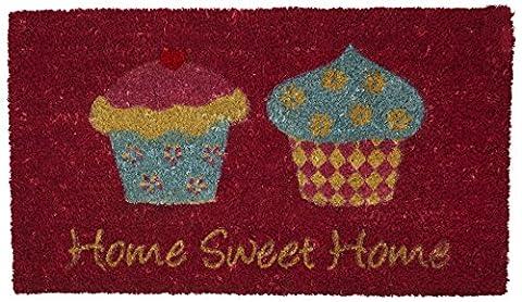 Novelty Fußmatte Home Sweet Home, Cupcake-Design, PVC-Unterseite, 40 x 70cm