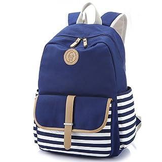 akldigital Women Vintage Canvas Backpack Outdoor Camping University Schoolbag Large Preppy French Breton Nautical Striped Rucksack Marine Sailor Navy Stripy School Bags for Women Ladies Girls (navy blue)