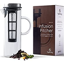 Cold Brew Coffee Maker - Large Glass Infusion Pitcher 1500ml - Iced Coffee & Iced Tea Pitcher with Stainless Steel Lid + Fine Mesh Filter - EXTRA Fruit Infusion Tube - Perfect Gift for Home