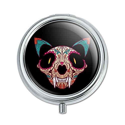 Katze Totenkopf Mexikanischer Tag der Toten Pille Fall Schmuckkästchen Geschenk-Box (Gehäuse-deckel Aufklappbaren)
