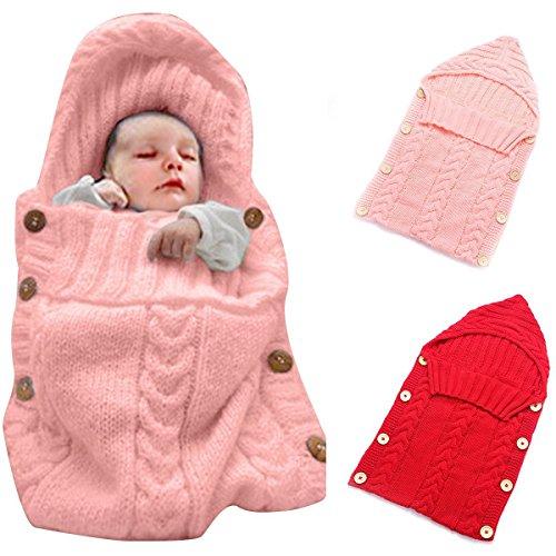Neugeborenes Babydecke Wrap Swaddle Decke, SOONHUA Baby Kinder Kleinkind Wolle Knit Decke Swaddle Schlafsack Schlaf Sack Stroller Wrap für 0-12 Monate Baby (Pink)