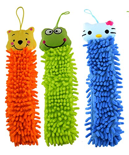 rangebow-pack-of-3-mix-colour-mix-random-pattern-microfiber-hanging-hand-towels-for-kids-animal-face