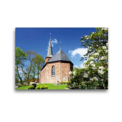 Calvendo Premium Textil-Leinwand 45 cm x 30 cm quer, St.-Marcellinus- und Petrus-Kirche zu Waddens   Wandbild, Bild auf Keilrahmen, Fertigbild auf echter Frühjahr in Butjadingen Natur Natur