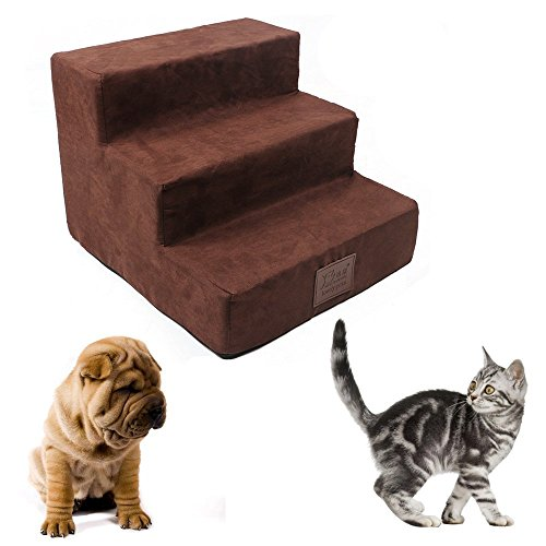 IRQ Dog Steps for High Bed Cat Steps 3-Step Pet Stairs for Small Dogs Ramp Ladder at Home Portable (Brown)