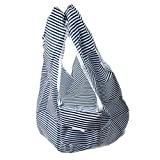 VWH Shopping Bags Reusable Expandable Grocery Tote Bags (Navy stripes)