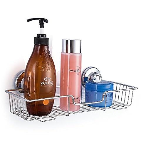SANNO Shower Caddy Bath Shelf Vacuum Screw Rustproof Bathroom Shelf Kitchen Storage Basket Holder