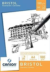 Canson 200005761 - Bristol Zeichenpapier A4, 180 g/m², 20 Blatt, weiß