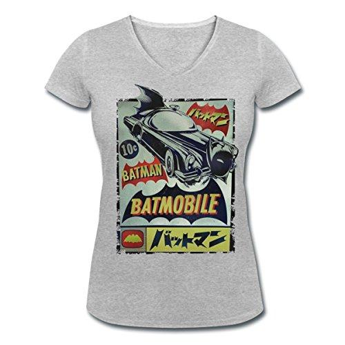 DC Comics Originals Batman En Japonais T-shirt col V Femme de Spreadshirt® gris chiné