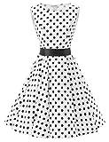 VKStar® 50er 60er Retro Kleider Damen mit Tupfen Abendkleid Vintage Damen Rockabilly Ballkleid Schwarze Punkte M