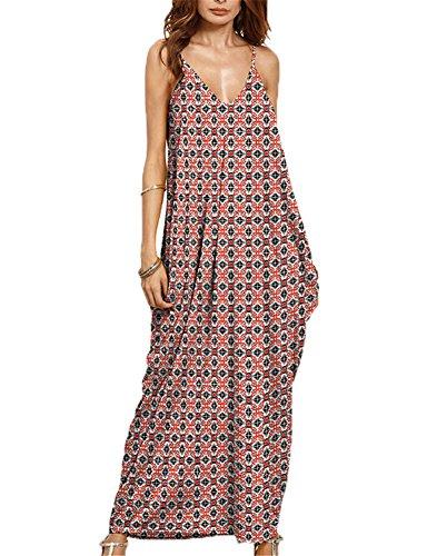 Donne estate scollo a v spalline regolabili tasche senza maniche boho da maxi elegante lunga vestiti (xxl, rosso)