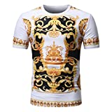 VEMOW Sommer Vatertag Geschenk Männer Sommer Casual Täglichen Afrikanischen Print O Neck Pullover Kurzarm T-Shirt Top Bluse Pulli Tees(Mehrfarbig 2, EU-54/CN-L)
