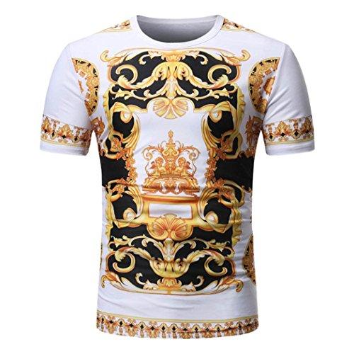 VEMOW Sommer Männer Sommer Casual Täglichen Afrikanischen Print O Neck Pullover Kurzarm T-Shirt Top Bluse Pulli Tees(Mehrfarbig 2, EU-54/CN-L)