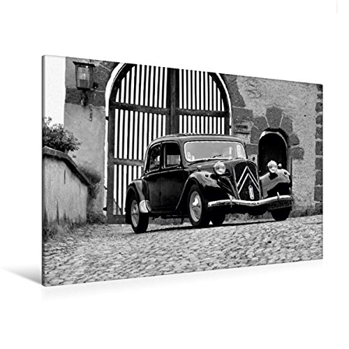 Premium Textil-Leinwand 120 cm x 80 cm quer, Ein Motiv aus dem Kalender Citroën 11 CV Traction Avant in schwarzweiss   Wandbild, Bild auf Keilrahmen. Leinwand, Leinwanddruck (CALVENDO Mobilitaet)