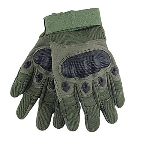 Andyshi Men's Outdoor Full Finger Hard Knuckle Motorcycle Touchscreen Gloves Green M