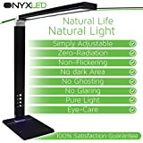 LED Desk Lamp, 14W, Adjustable Modern Desk Lamp by ONYXLED Dimmable Reading light w/ 3 Color Temperatures, 5-Level Dimmer & USB Charging Port [Piano Black & Glossy Finish]