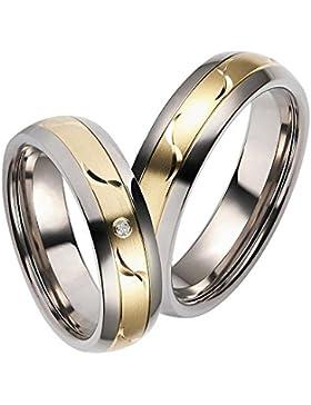 CORE by Schumann Design Trauringe Eheringe aus 585 Gold Gelbgold/Titan Bicolor mit echten Diamanten Gratis Testringservice...