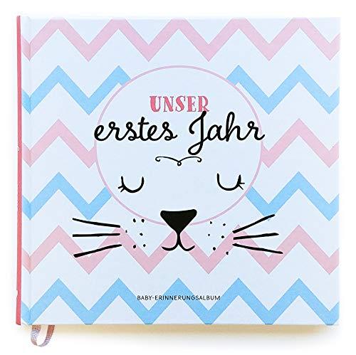 Babyalbum: Unser erstes Jahr. Babytagebuch in rosa und blau zum Ausfüllen für Mädchen & Junge. Personalisiertes Baby Erinnerungsalbum zum Eintragen für das 1. Jahr. Geschenk zur Geburt, Taufe.