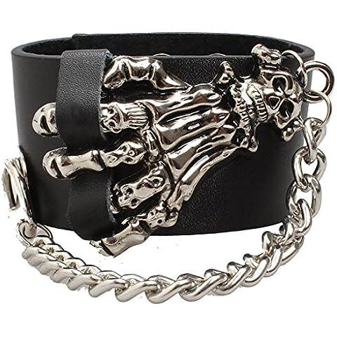 Ultra esqueleto mano cuero Goth Steampunk estilo pulsera pulsera brazalete pulseras gótico biker rock adultos adolescentes